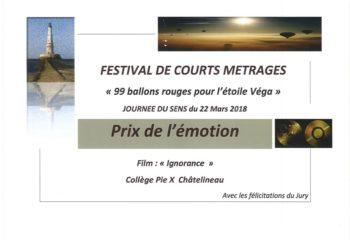 Prix festival de courts métrages Enghien 2018 journée du sens